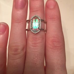 Kendra Scott Dichroic Glass Silver Ring Size 6